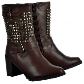Biker Studded Block Heel Ankle Boots - Brown