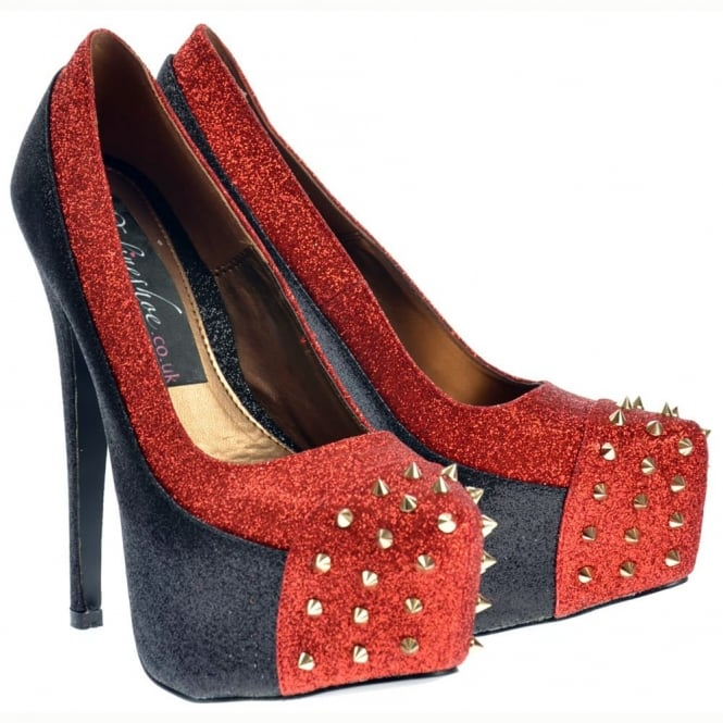 Onlineshoe Black and Red Glitter Studded Stiletto Concealed Platform Shoes - Black and Red Glitter