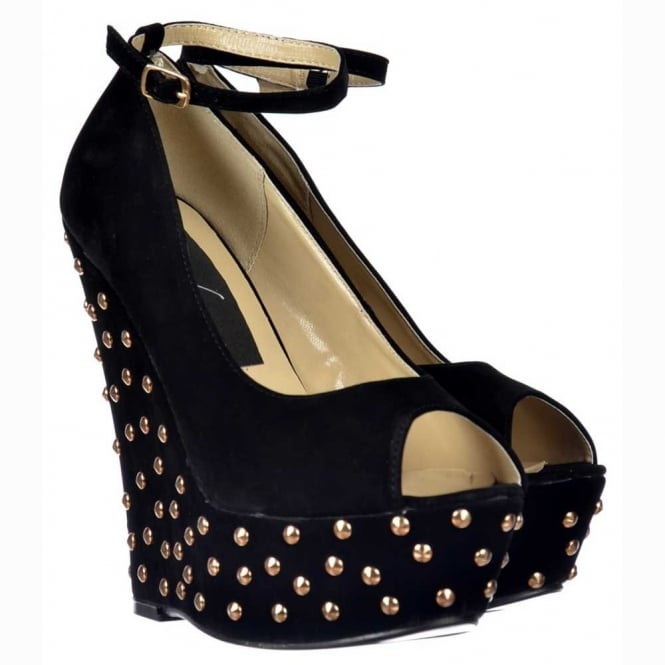Onlineshoe Black Studded Suede Wedge Peep Toe Platform Shoes Ankle Strap - Black Studded