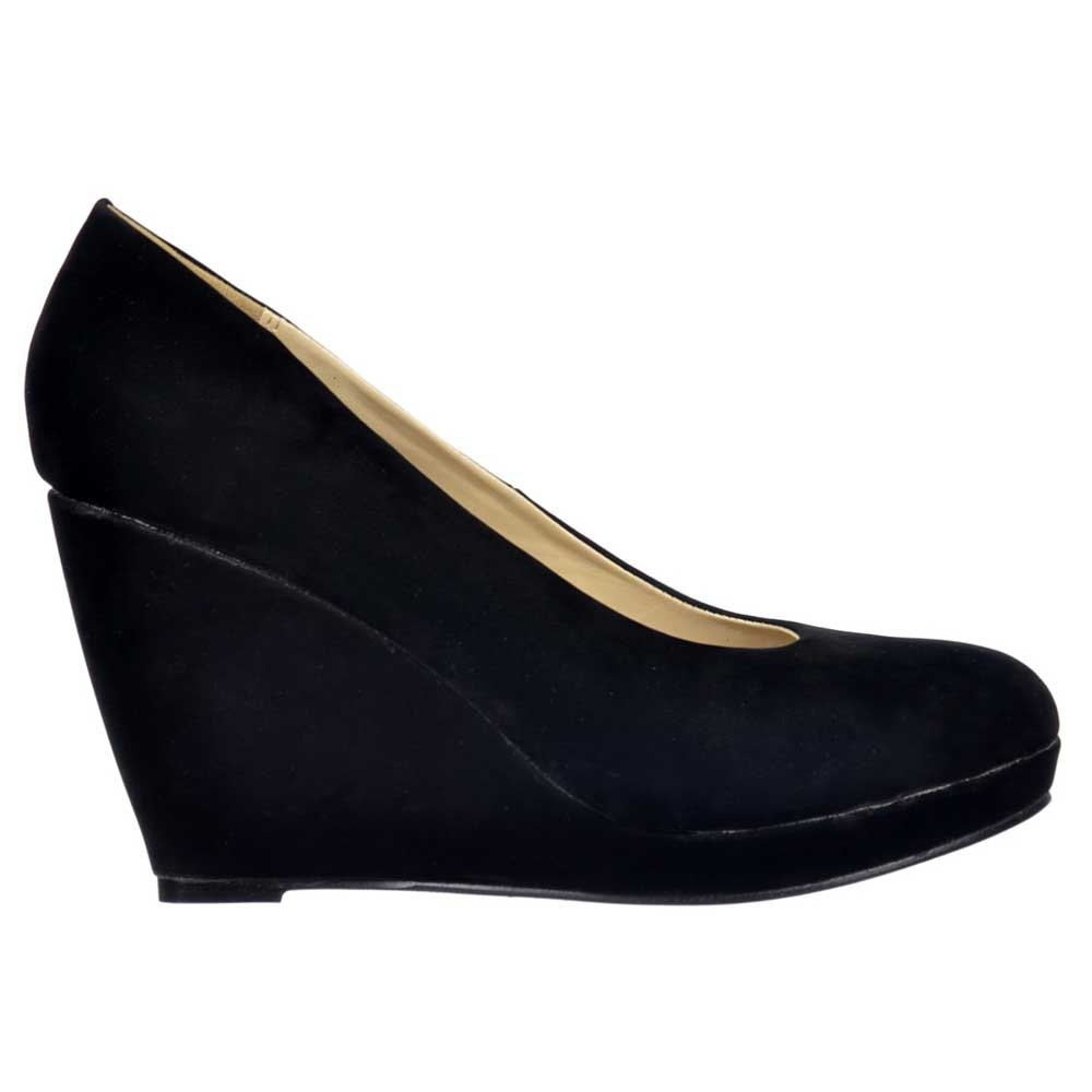 Onlineshoe Black Suede Mid Low Heel