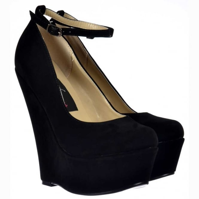 Onlineshoe Black Suede Wedge Platform Shoes Ankle Strap - Black Suede