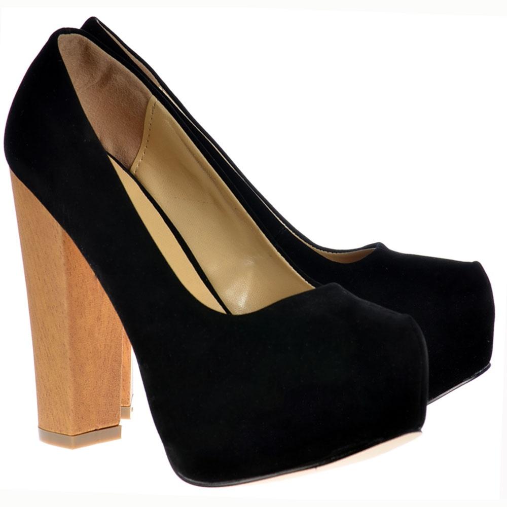 010eff07d875 Black Suede With Wood Effect Block Heel Concealed Platform Shoes - Black  Suede