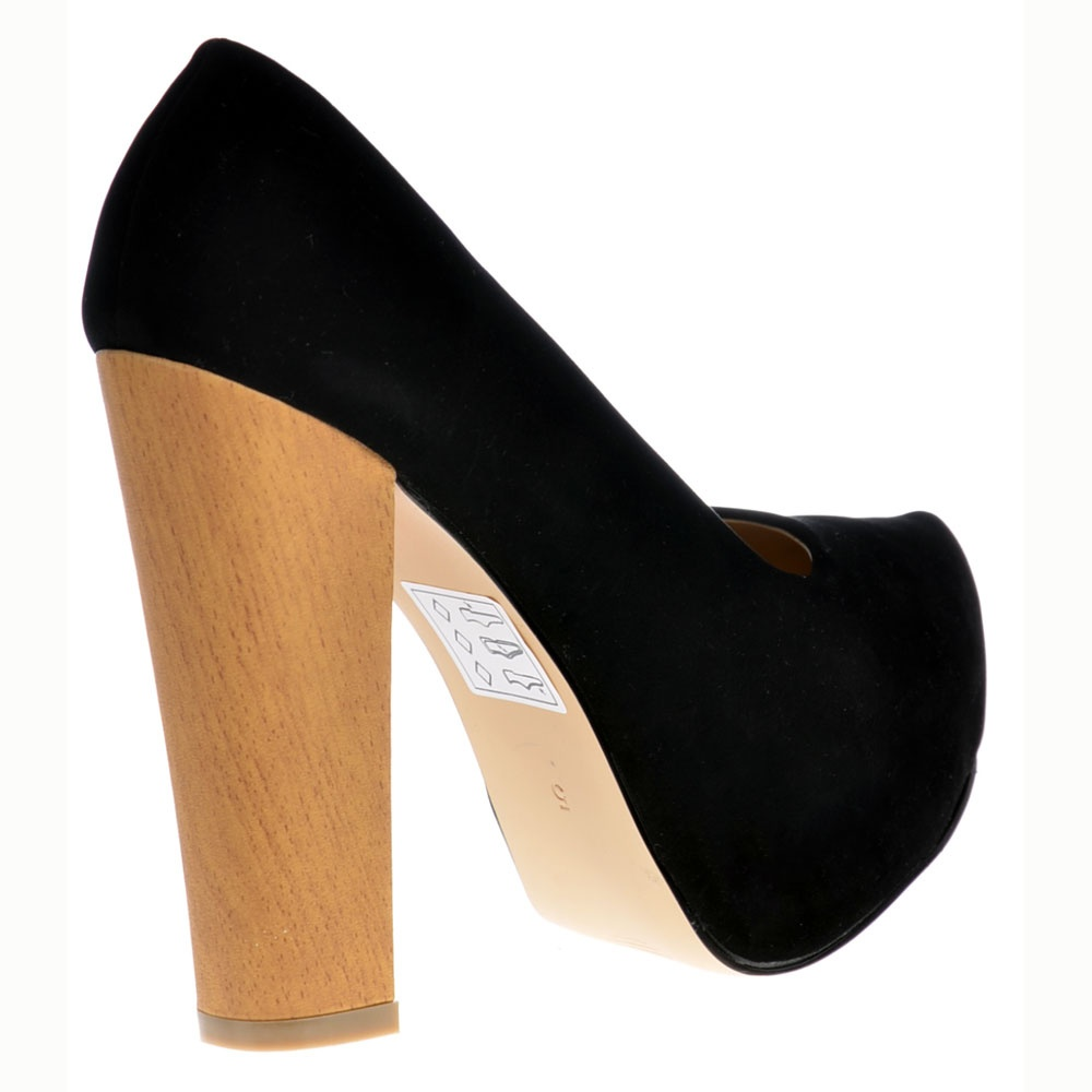 Onlineshoe Black Suede With Wood Effect