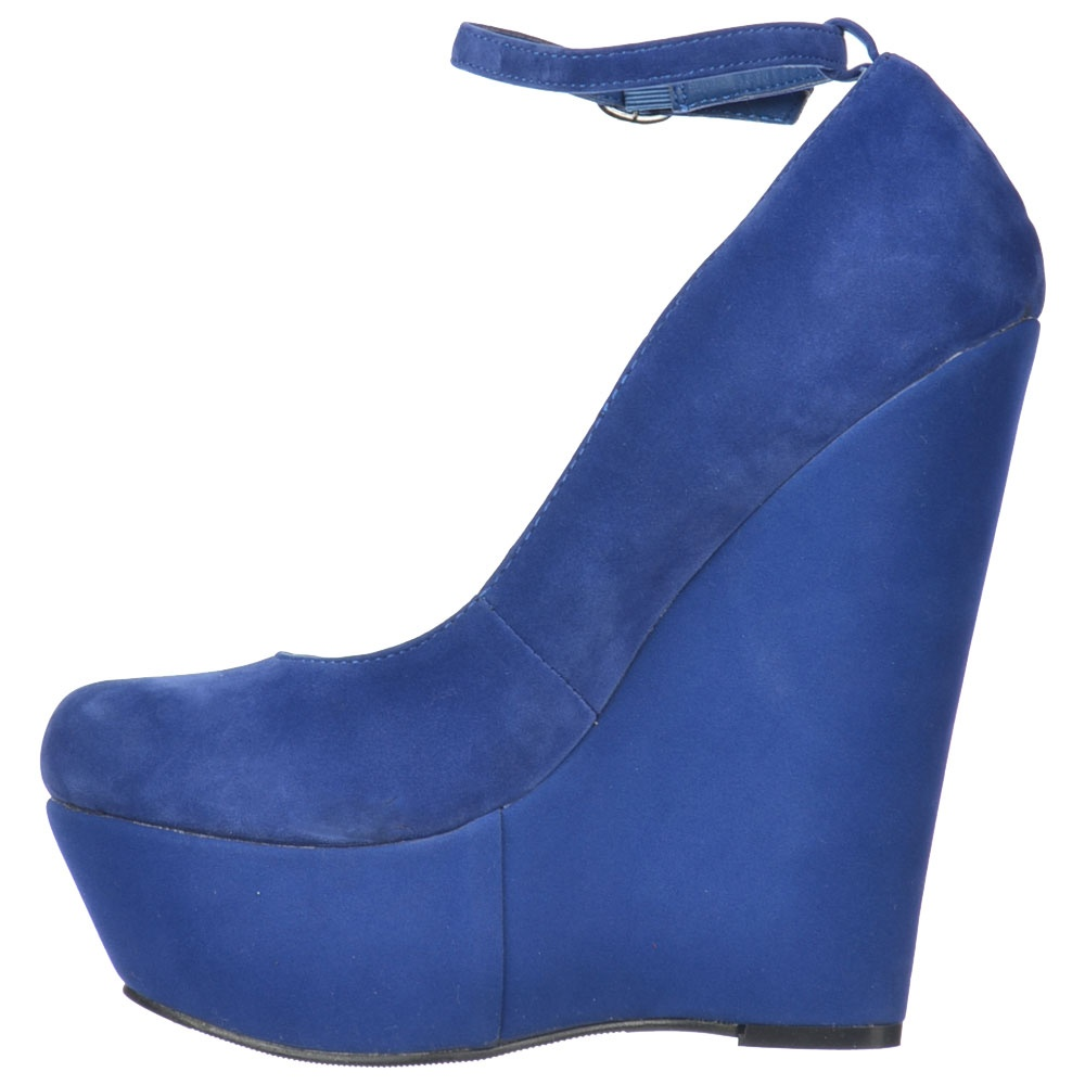 b0b67b4a25f Onlineshoe Blue Suede Wedge Platform Shoes Ankle Strap - WOMENS from ...