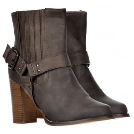 Chelsea Ankle Boot With Buckles and Straps - Block Cuban Heel - Brown, Black
