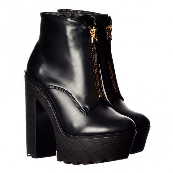 Onlineshoe Chunky Cleated Sole Platform High Heel Ankle Boot - Zips - Black PU