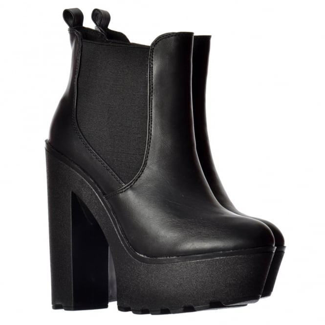 Onlineshoe Chunky Cleated Sole Platform High Heel Chelsea Ankle Boot - Black, White