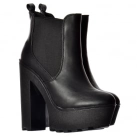 Chunky Cleated Sole Platform High Heel Chelsea Ankle Boot - Black, White