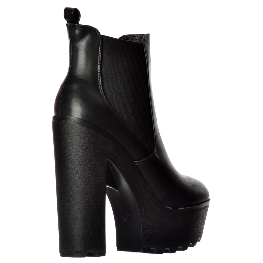 Onlineshoe Chunky Cleated Sole Platform High Heel Chelsea Ankle Boot
