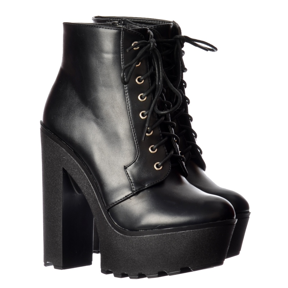 Onlineshoe Chunky Cleated Sole Platform High Heel Lace Up