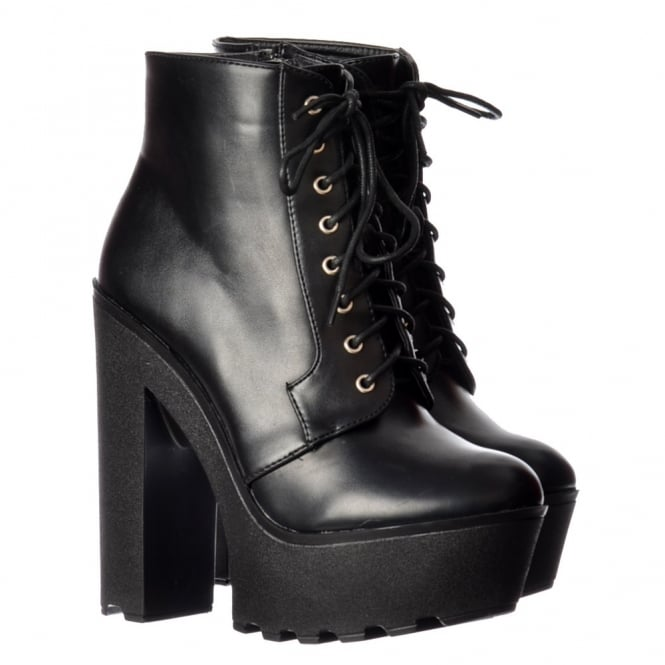 Chunky Cleated Sole Platform High Heel Lace Up Ankle Boots - Black PU