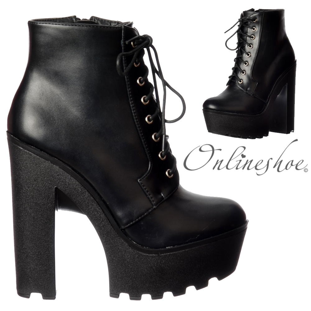 4a919c1654f Chunky Cleated Sole Platform High Heel Lace Up Ankle Boots - Black PU