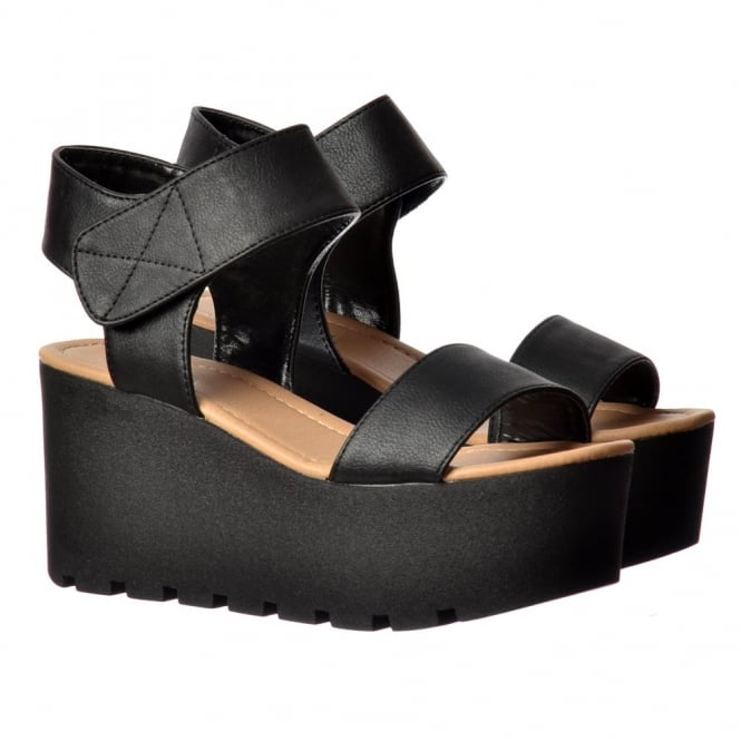 Onlineshoe Chunky Cleated Sole Platform Summer Wedge Sandal - Black, White