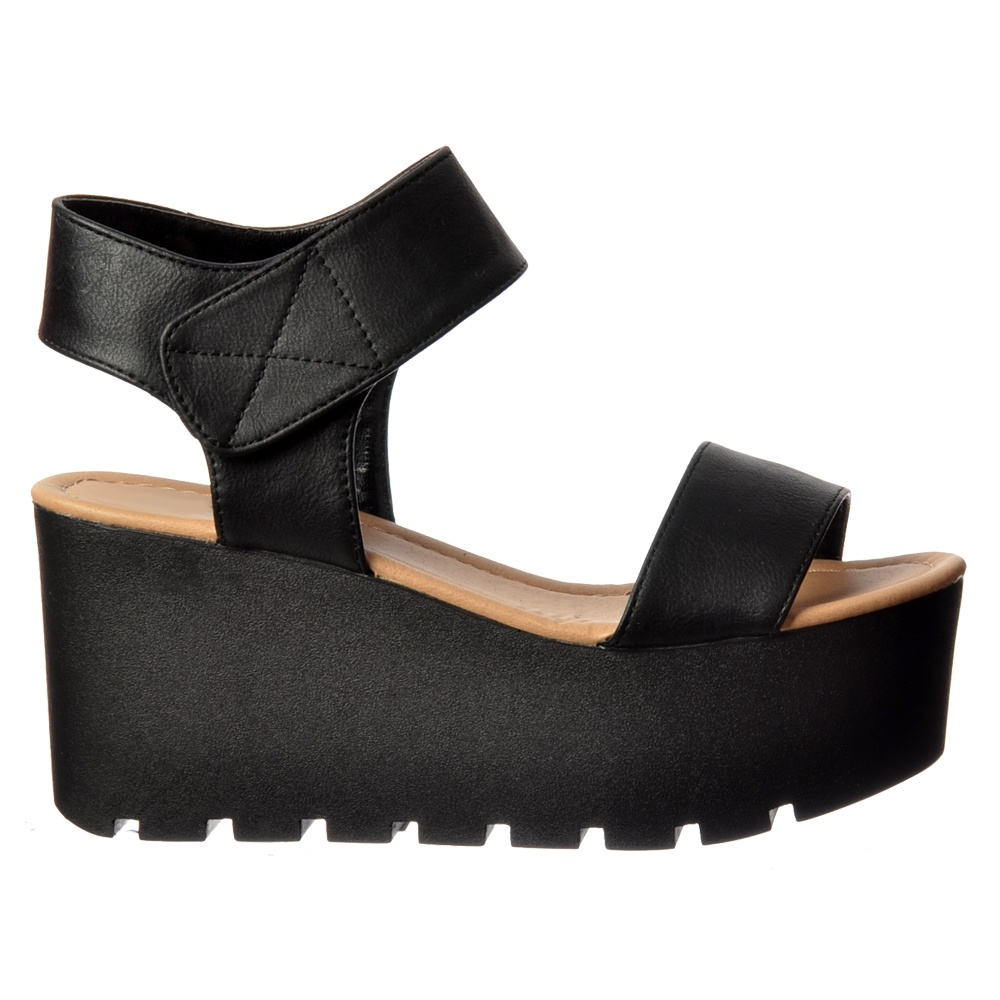 Sole Onlineshoe Chunky Sandal Wedge Summer Platform Cleated Black QdCWrxeBoE