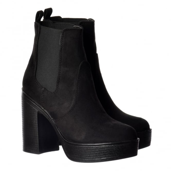 Onlineshoe Classic High Heeled Chelsea Platform Ankle Boots - Stitched Detail - Black Suede