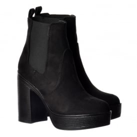 Classic High Heeled Chelsea Platform Ankle Boots - Stitched Detail - Black Suede