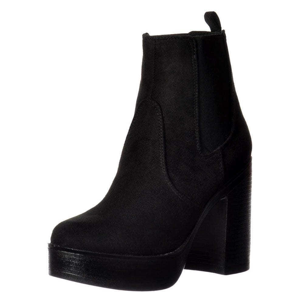 2c99eb0d1639 Classic High Heeled Chelsea Platform Ankle Boots - Stitched Detail