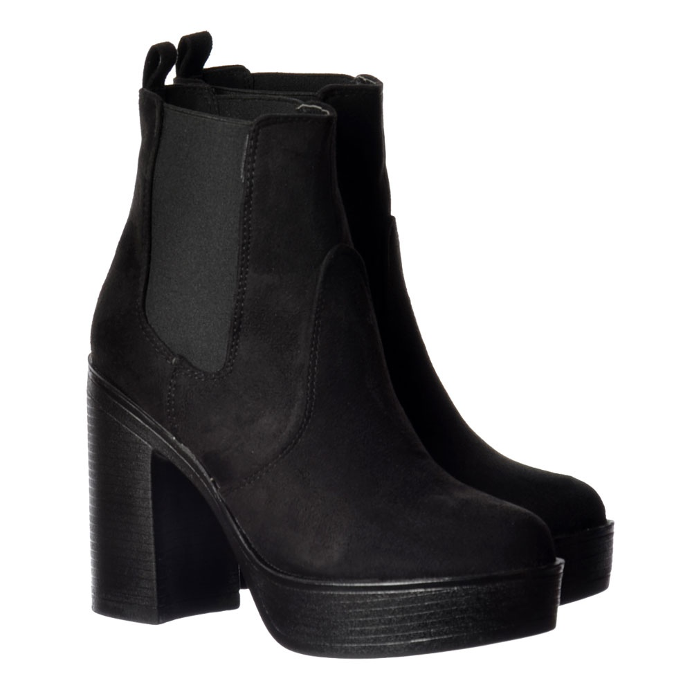 Classic High Heeled Chelsea Platform Ankle Boots - Stitched Detail bc15cdc49