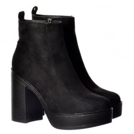 Classic High Heeled Platform Ankle Boots - Stitched Detail - Black Suede