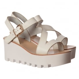 Cleated Sole Summer Low Wedge Sandals - Black, White