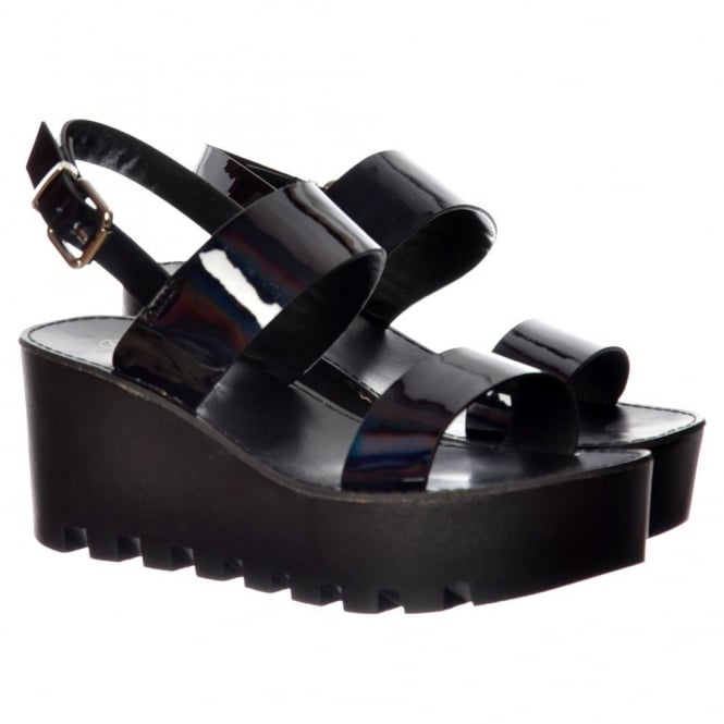 Onlineshoe Cleated Sole Summer Platform Wedge Sandals - Black Patent, Silver Hologram