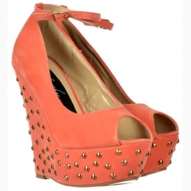 Coral Studded Suede Wedge Peep Toe Platform Shoes Ankle Strap - Coral Studded