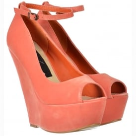 Coral Suede Wedge Peep Toe Platform Shoes Ankle Strap - Coral Suede
