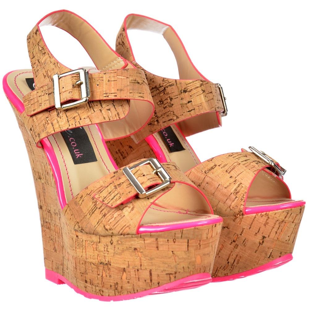 Shoekandi Multi Woven Wedge Peep Toe Platforms - Ankle