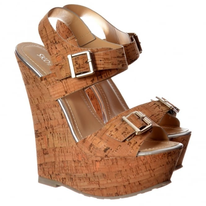 Onlineshoe Cork Nude Wedge Peep Toe Platforms - Double Buckle Straps - Cork Silver