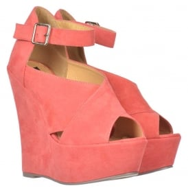 Criss Cross Platform Wedges - Ankle Strap - Coral Suede