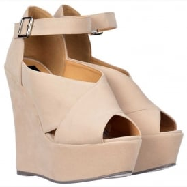 Criss Cross Platform Wedges - Ankle Strap - Nude Suede