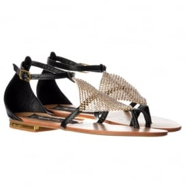 Crystal Diamante Embellished Flat Flatform Sandals - Tan, Black