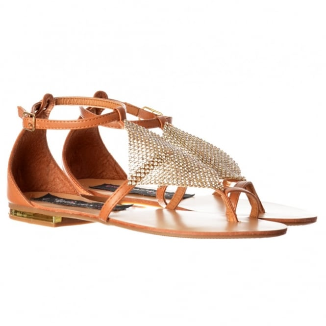 Onlineshoe Crystal Diamante Embellished Flat Flatform Sandals - Tan, Black