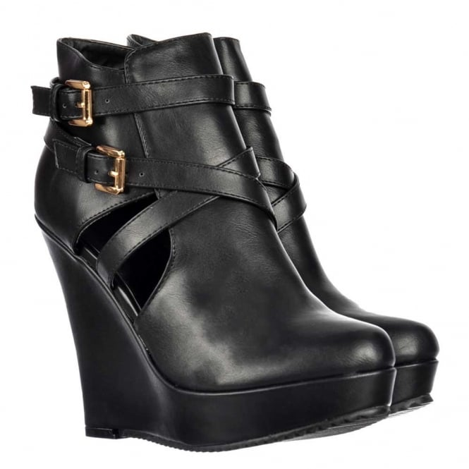 Onlineshoe Cut Out Chelsea Ankle Boot - Wedge Heel - Black