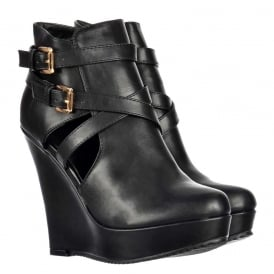 Cut Out Chelsea Ankle Boot - Wedge Heel - Black