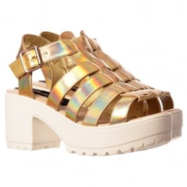 Cut Out Gladiator Platform Summer Sandals - Chunky Cleated Sole Block Heel - Black, White, Pink, Silver, Gold