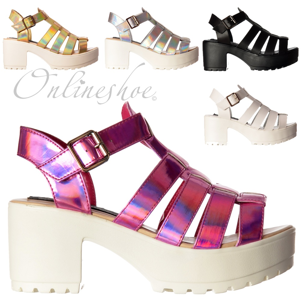03aa39b33c9 Cut Out Gladiator Platform Summer Sandals - Chunky Cleated Sole Block Heel  - Black, White, Pink, Silver, Gold