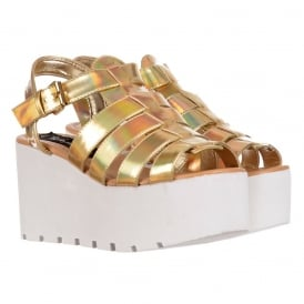 Cut Out Gladiator Platform Summer Sandals - Chunky Sole Wedges - Gold, Fuchsia Pink, Silver, White