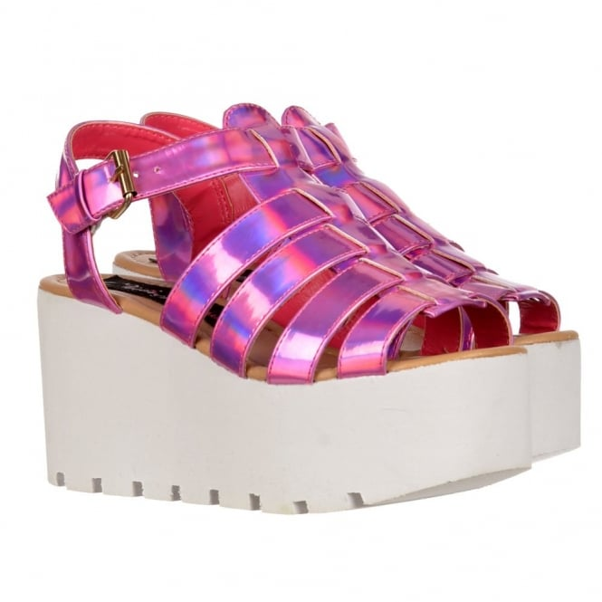 Onlineshoe Cut Out Gladiator Platform Summer Sandals - Chunky Sole Wedges - Gold, Fuchsia Pink, Silver, White