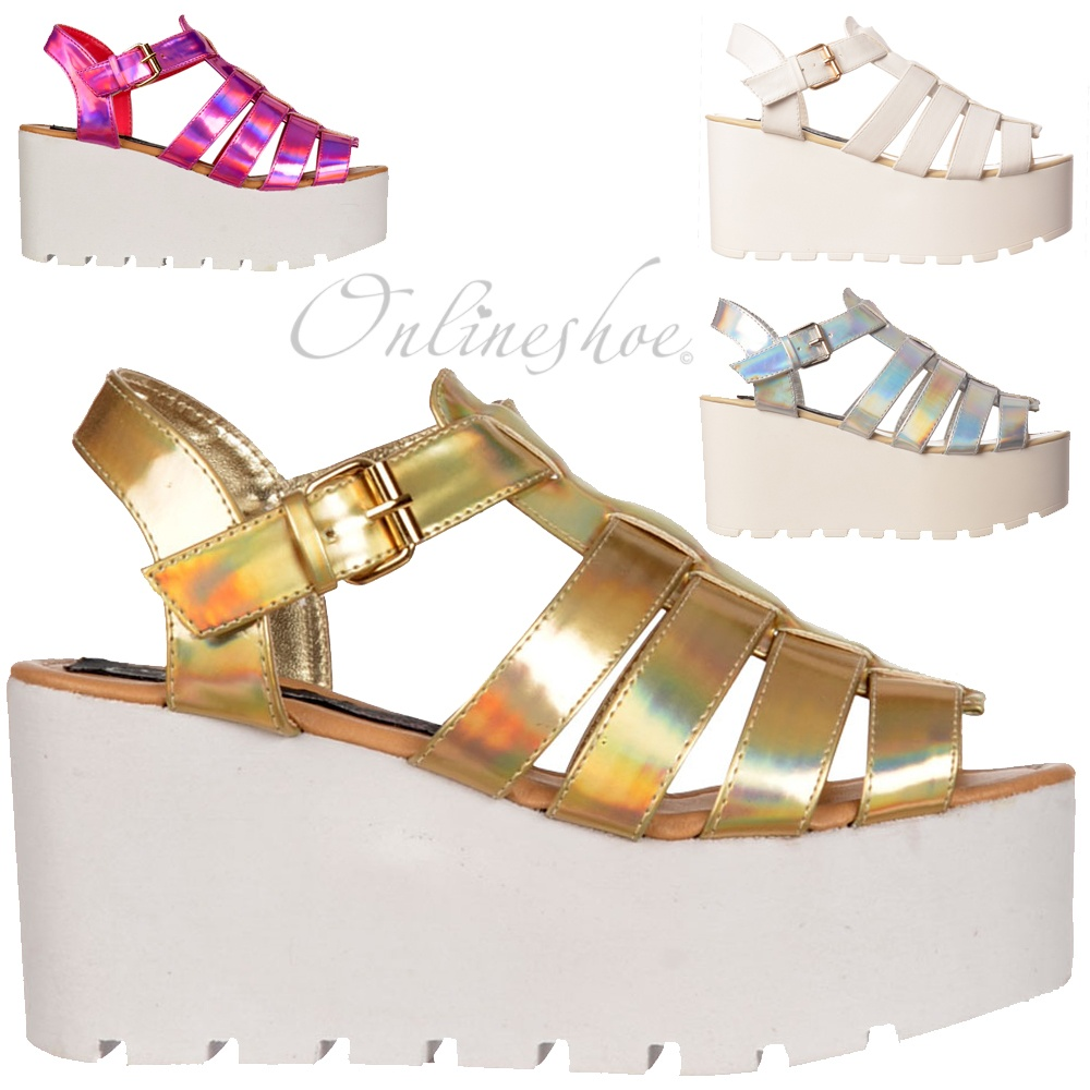 d1faacd74 Onlineshoe Cut Out Gladiator Platform Summer Sandals - Chunky Sole ...