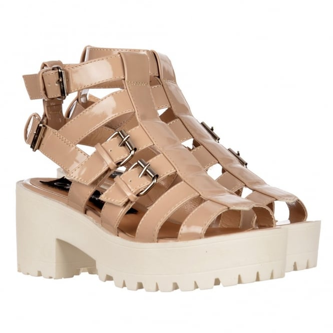 Onlineshoe Cut Out Gladiator Platform Summer Sandals - Strappy Buckles - Nude, White