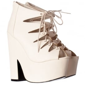 Cut Out Gladiator Strappy Lace Up - Demi Wedge Chunky Heels - White PU