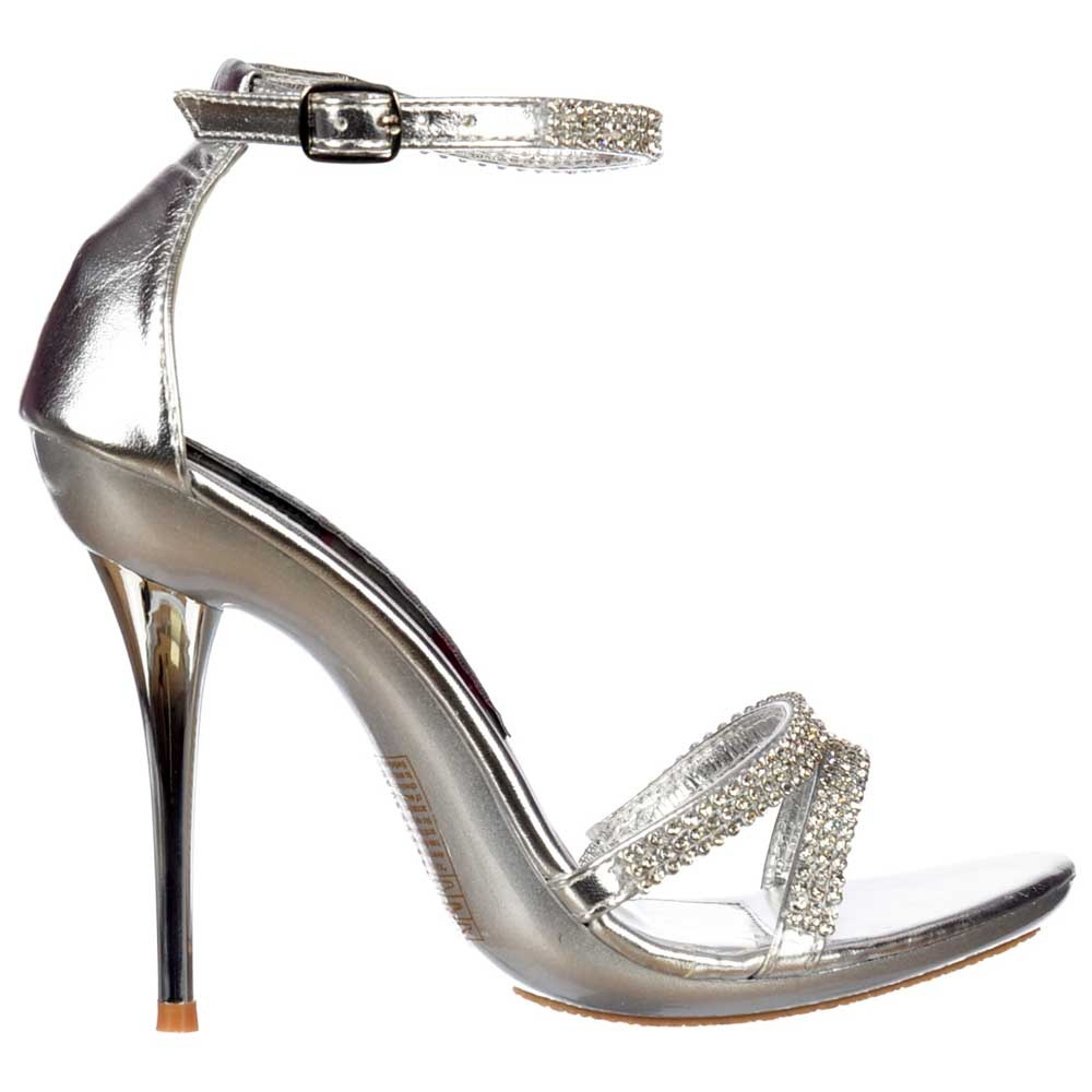 Onlineshoe Diamante Crystal Ankle Strap High Heel Stiletto Shoes ...