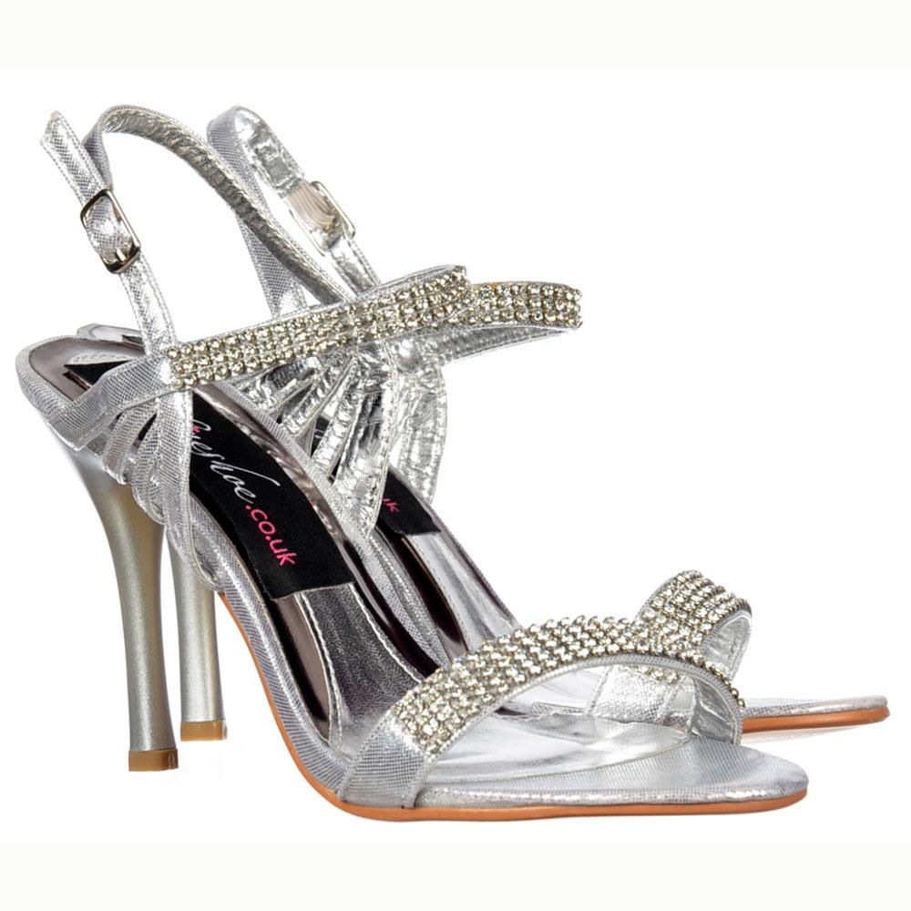 2e56da07c09f Onlineshoe Diamante Crystal Ankle Strap - Mid Heel Stiletto Shoes - Silver