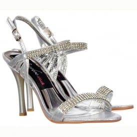 Diamante Crystal Ankle Strap - Mid Heel Stiletto Shoes - Silver