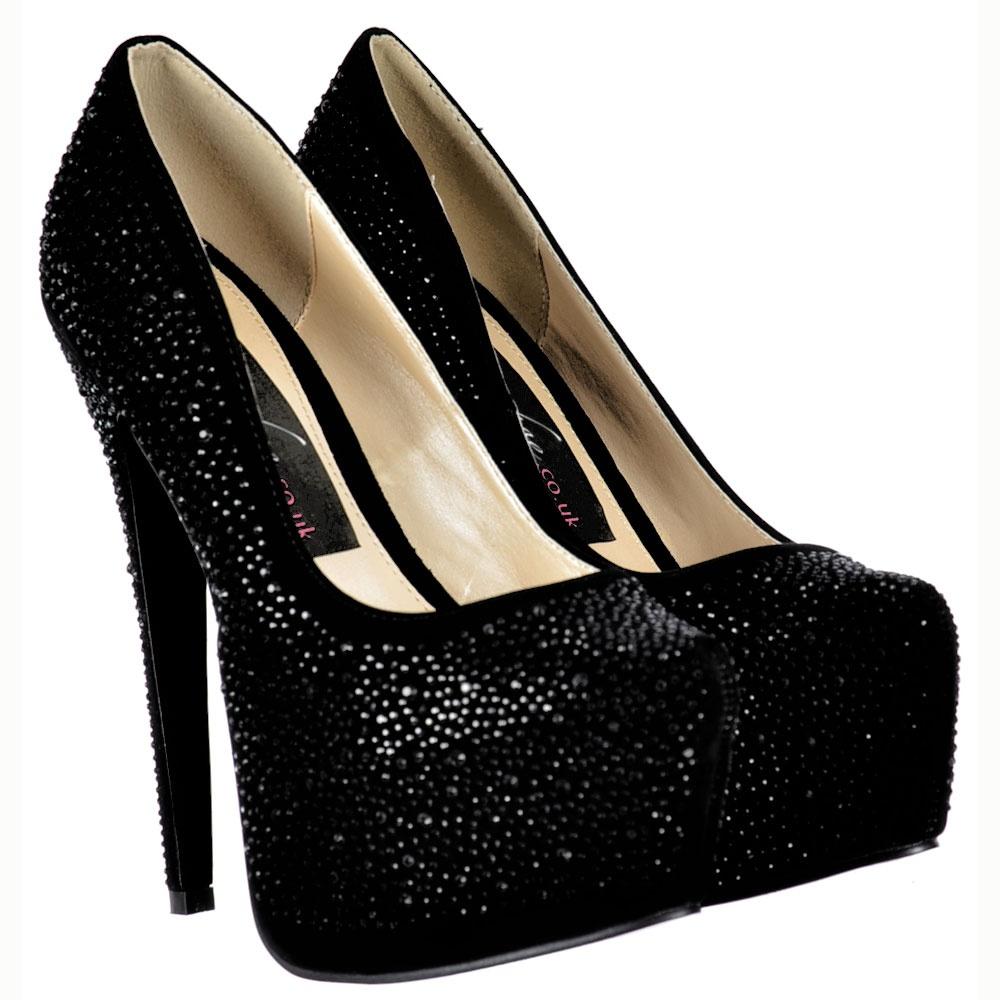 Diamante Crystal High Heel Stiletto Concealed Platform Shoes - Black Suede cf92bbef56