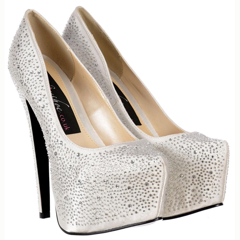 9dec0fb635 Diamante Crystal High Heel Stiletto Concealed Platform Shoes - White Ivory  Satin
