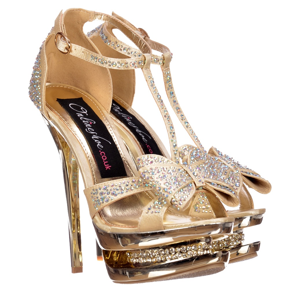 Gold Party Shoes For Ladies Fly