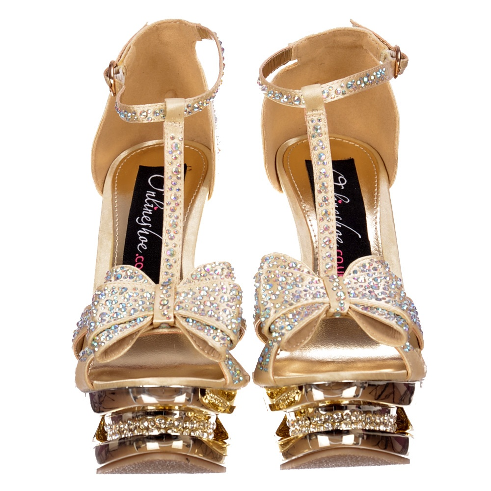 06f09b19d73 Diamante Crystal Jewelled Bow High Heel - Diamante Stiletto Heel - Gold