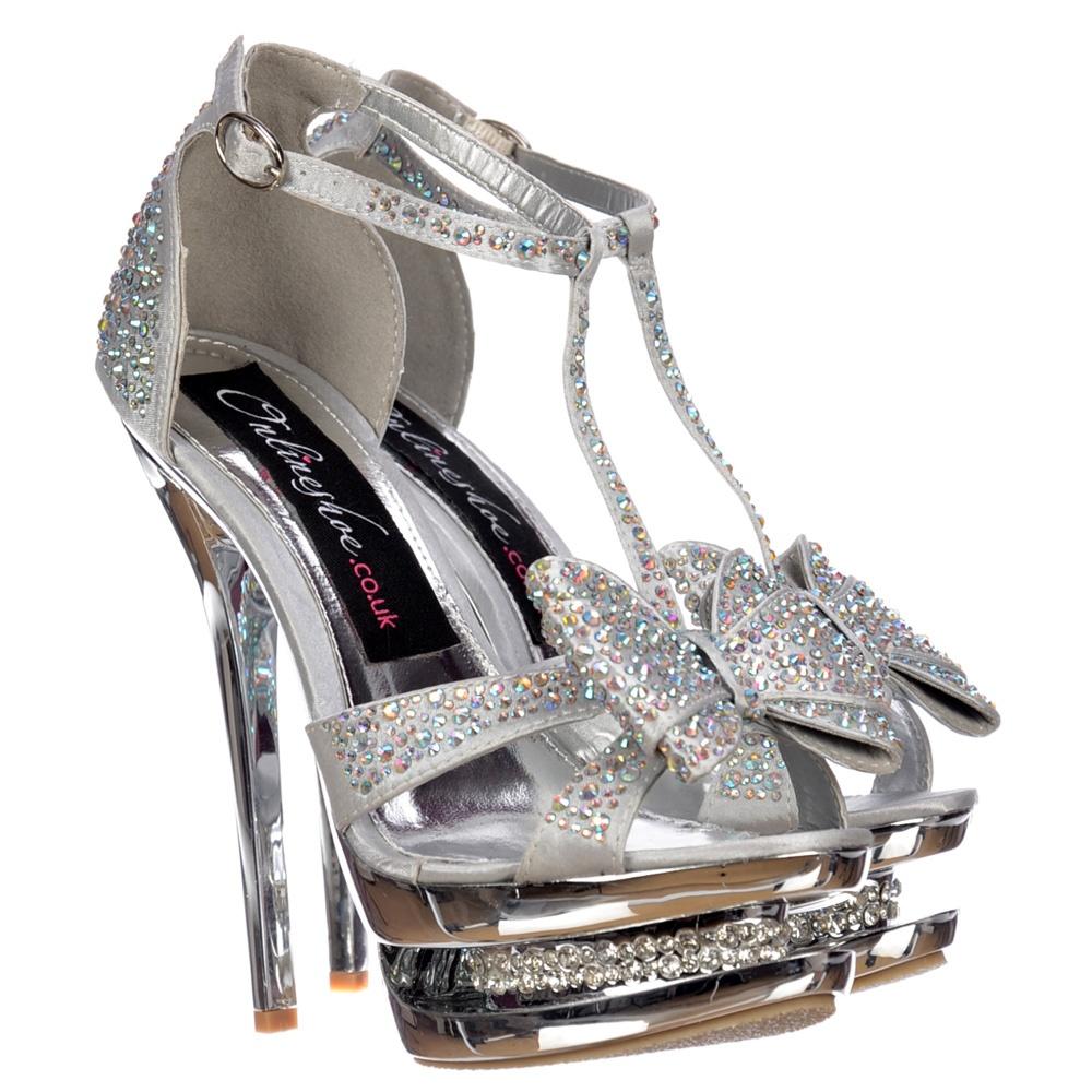 8646e9627d1 Diamante Crystal Jewelled Bow High Heel - Diamante Stiletto Heel - Silver